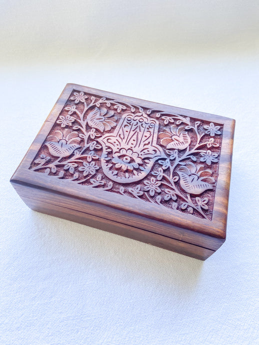 Carved Wooden Box - Hamsa