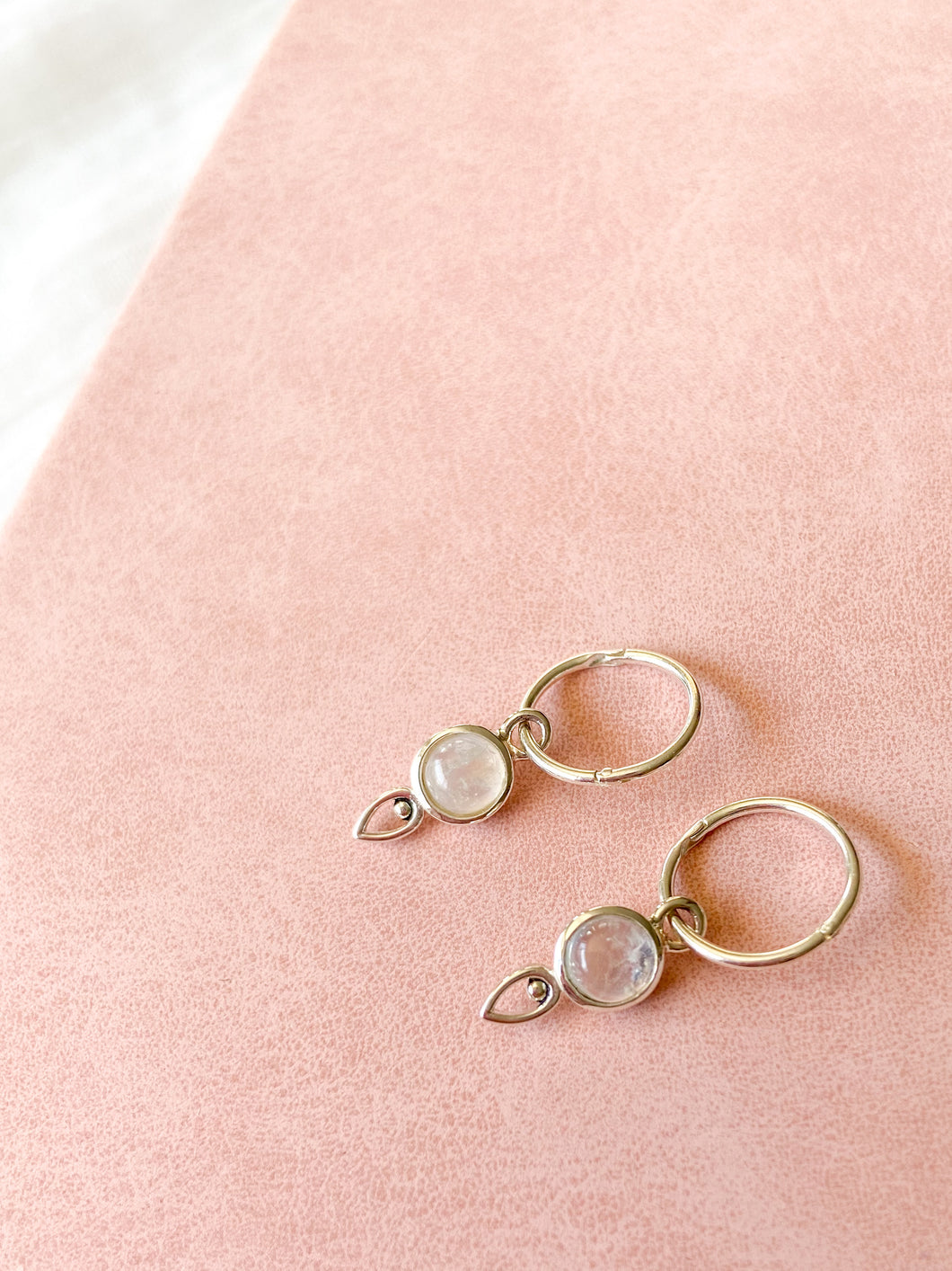 Droplet Moonstone Hoops by Static Jewellery