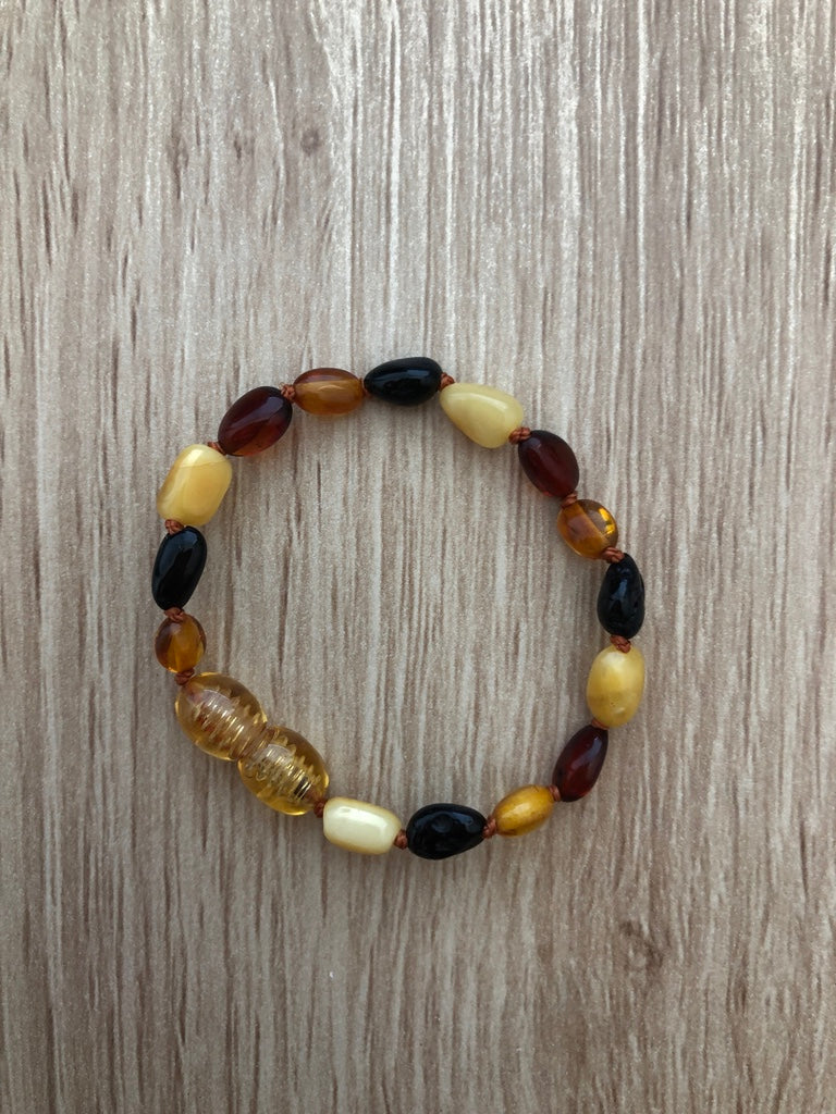 Baltic Amber Teething Bracelet/Anklet - mixed colours