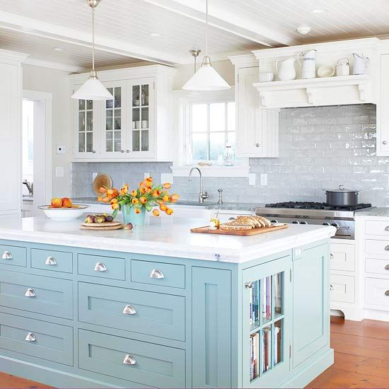 Blue-Kitchen-Design-Ideas-kitchen-island-pale-blue-with-white-cabinets-and-satin-nickel-cup-pulls
