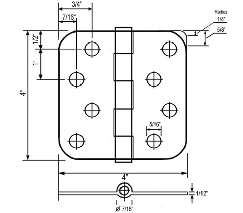 sketch diagram of a door hinge and measurements