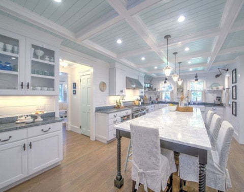 Blue ceiling in kitchen for blue kitchen ideas
