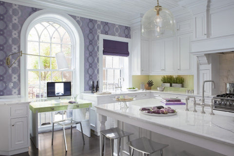 Violet and blue wallpaper in the kitchen for blue kitchen ideas