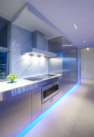 Blue floor lighting for blue kitchen design ideas