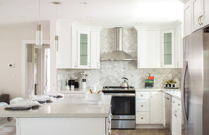 Kitchen with cabinet knobs and pulls featured - doorcorner