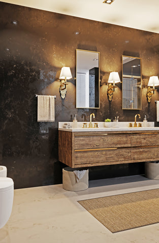 Bathroom with spa feeling and pendant lights and black wall