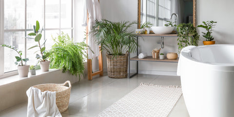 Bathroom spa with floor plants and soaking tub