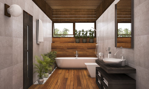 Turn your bathroom into a spa. Wood floor with bamboo floor and soaking tub