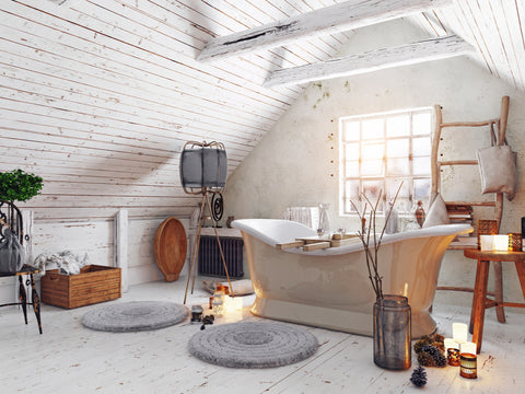 bathroom shabby chic with soaker tub, antieuqes and distressed wood