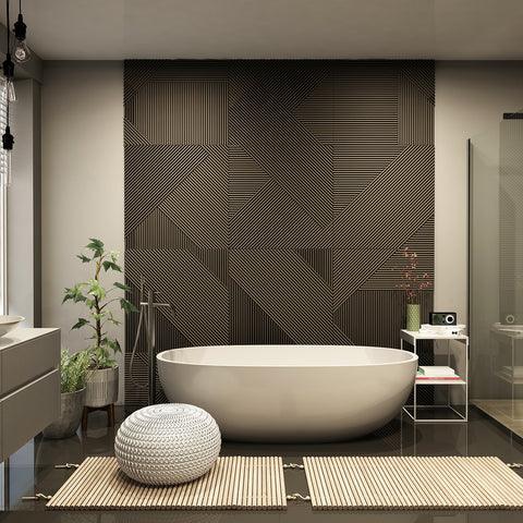 Soothing bathroom with neutral colors, large soaking tub and bamboo floor mats