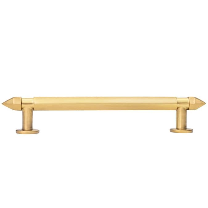 Multiple angles brushed gold cabinet handle pull with end spikes and five inch hole spacing