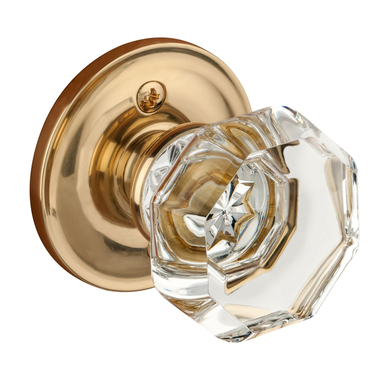 Dynasty Hardware Crystal 1830-ID-US3 Dummy Door Knob, Polished Brass