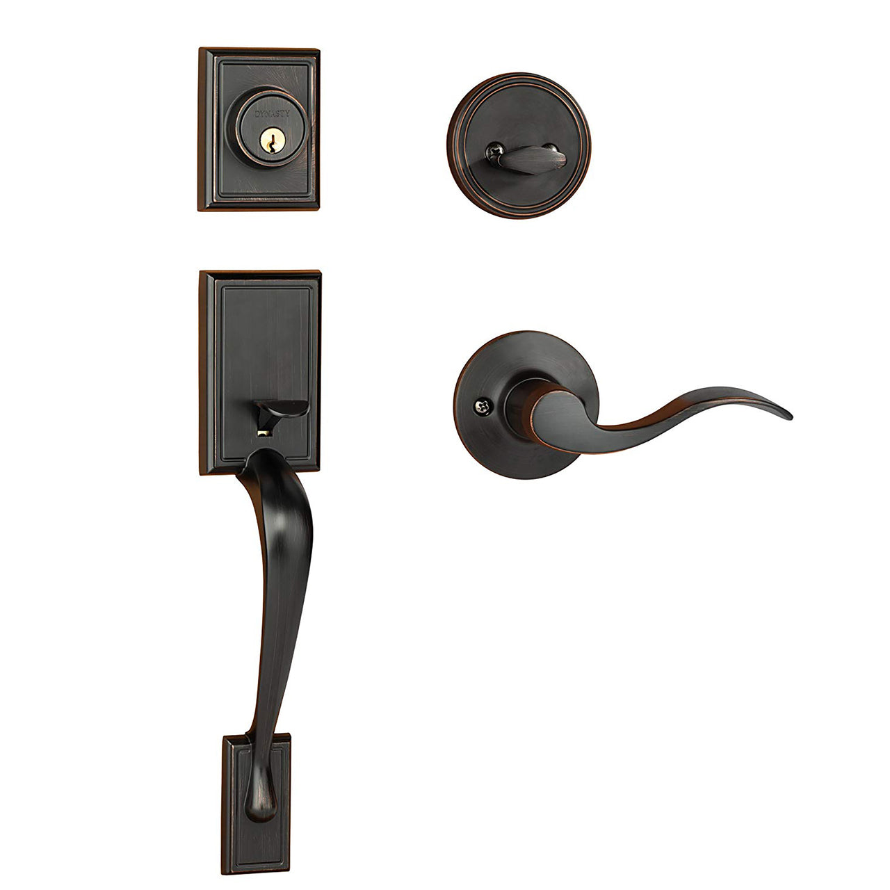 Dynasty Hardware Ridgecrest RID-HER-100-12PL Left Hand Front Door Handleset with Heritage Lever, Aged Oil Rubbed Bronze