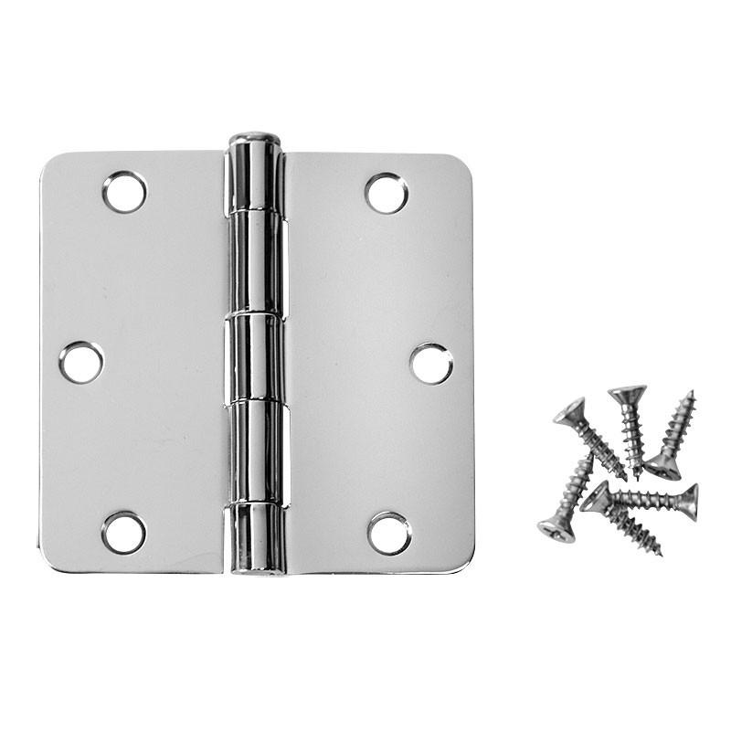 "Cosmas Polished Chrome Door Hinge 3 1/2"" with 1/4"" Radius Corners"