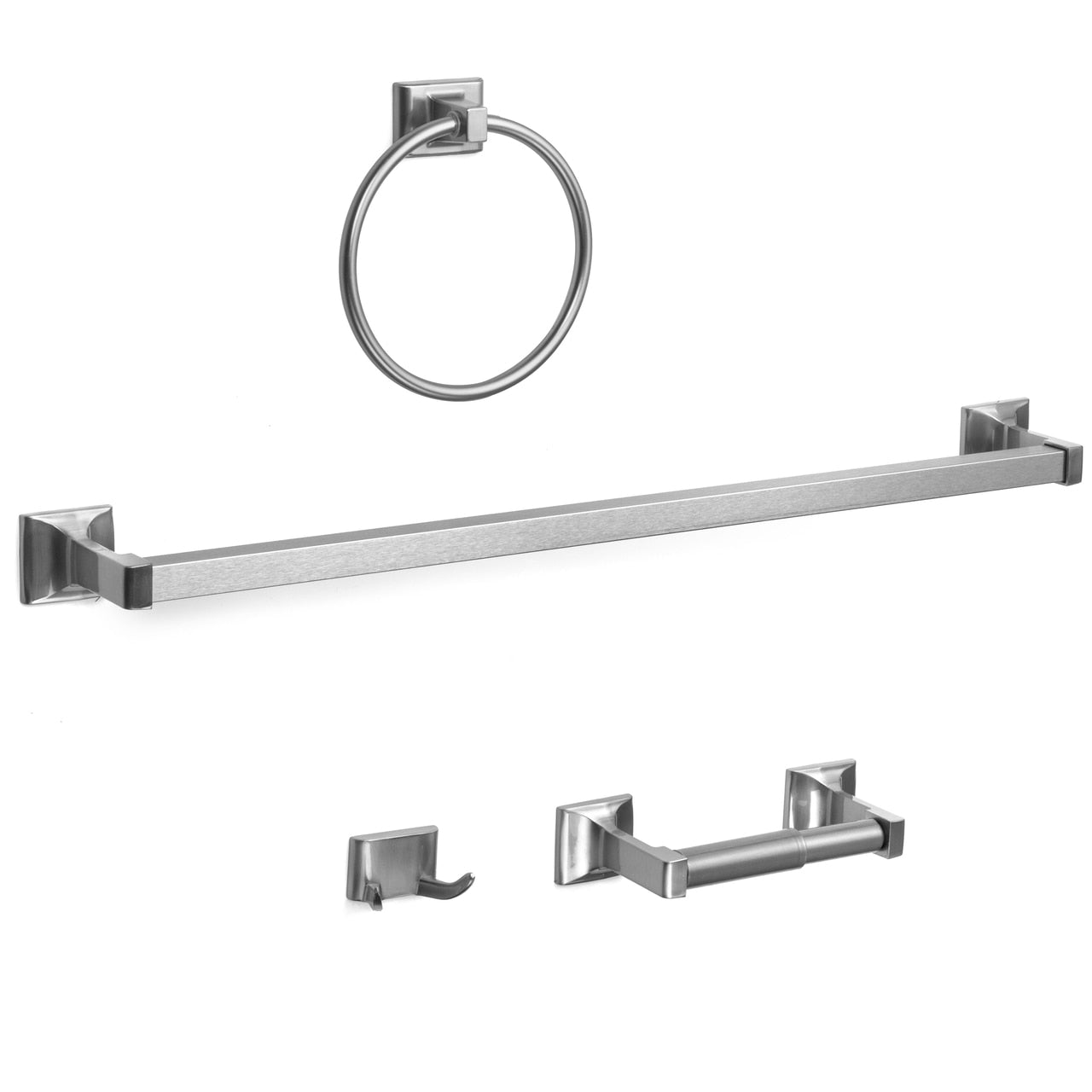 Designers Impressions Eclipse Series 4 Piece Satin Nickel Bathroom Hardware Set