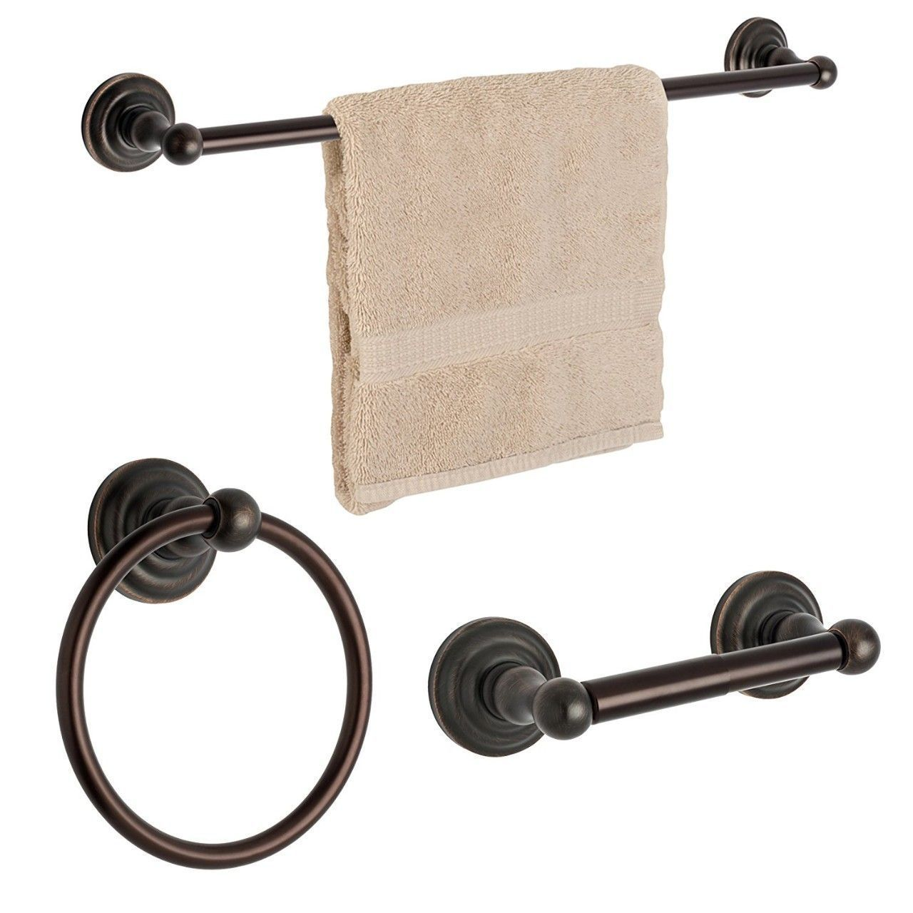 Dynasty Hardware Palisades 3800-ORB-3PC Oil Rubbed Bronze 3-Piece Bathroom Hardware Set