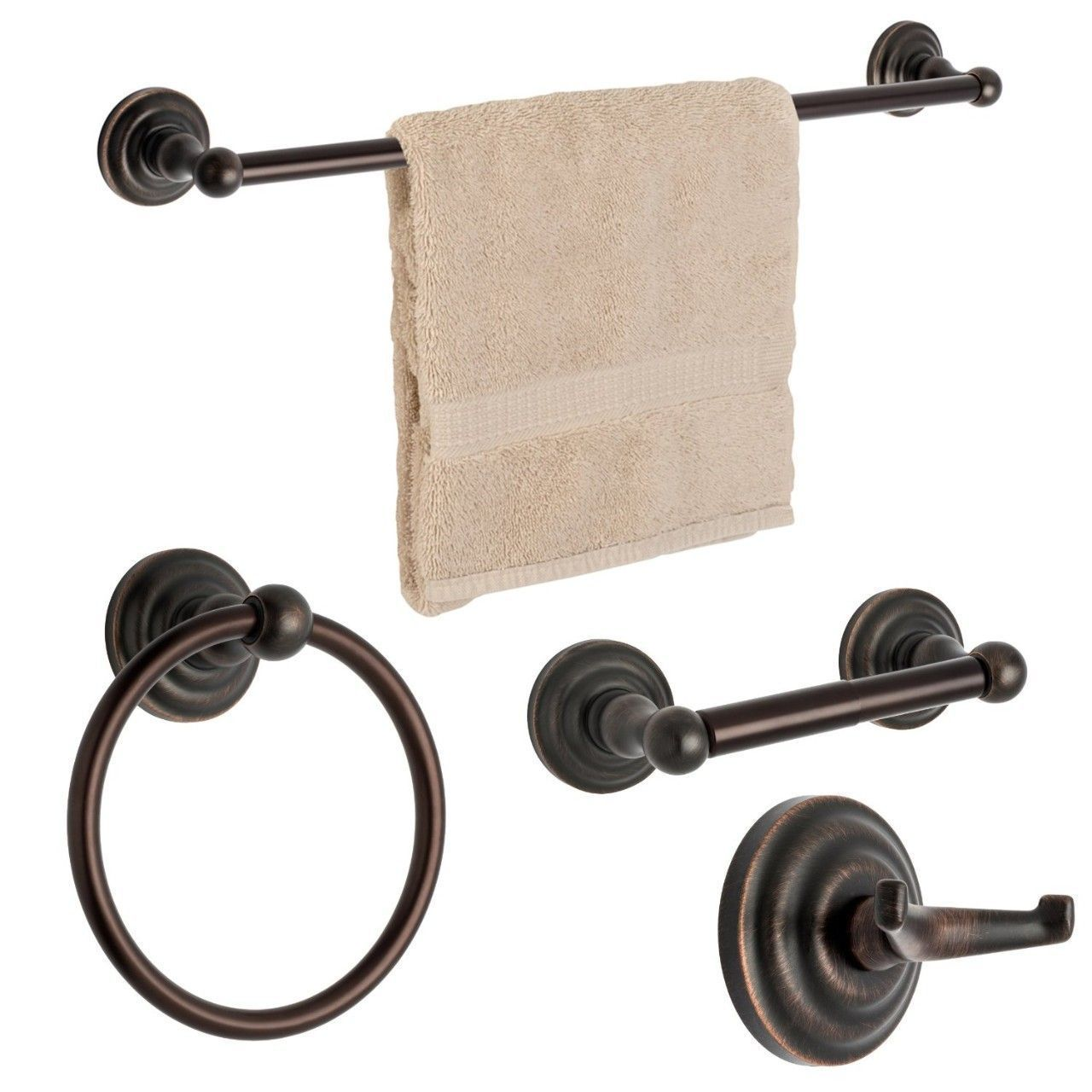 Dynasty Hardware Palisades 3800-ORB-4PC Oil Rubbed Bronze 4-Piece Bathroom Hardware Set