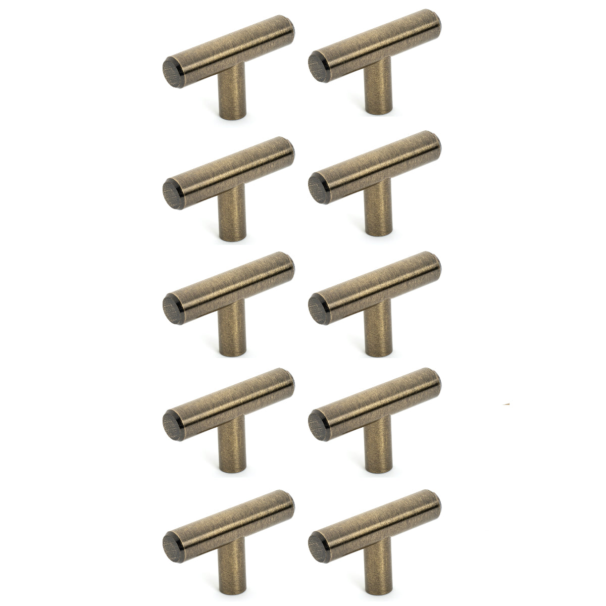 Diversa Antique Brass Euro Style T-Bar Cabinet Knob - 10 PACK