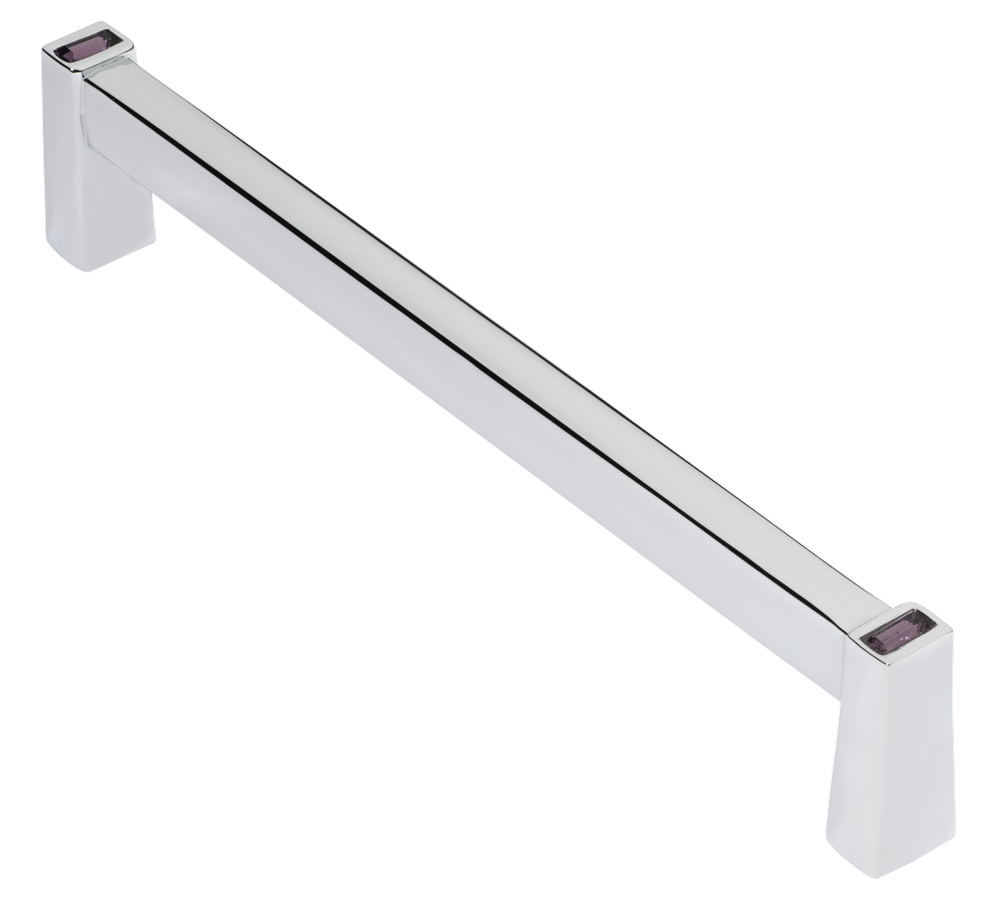 Long Island 128mm Cabinet Pull, Polished Chrome, Purple