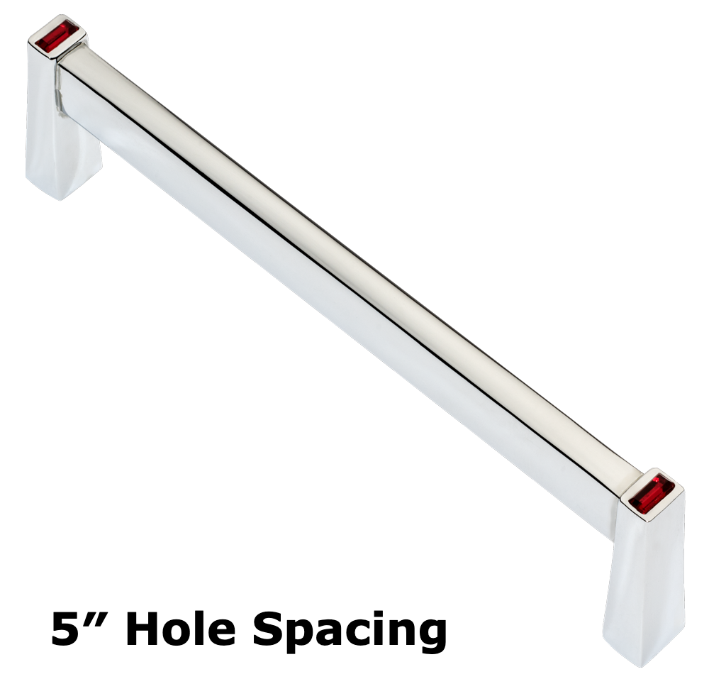 Long Island 128mm Cabinet Pull, Polished Chrome, Red