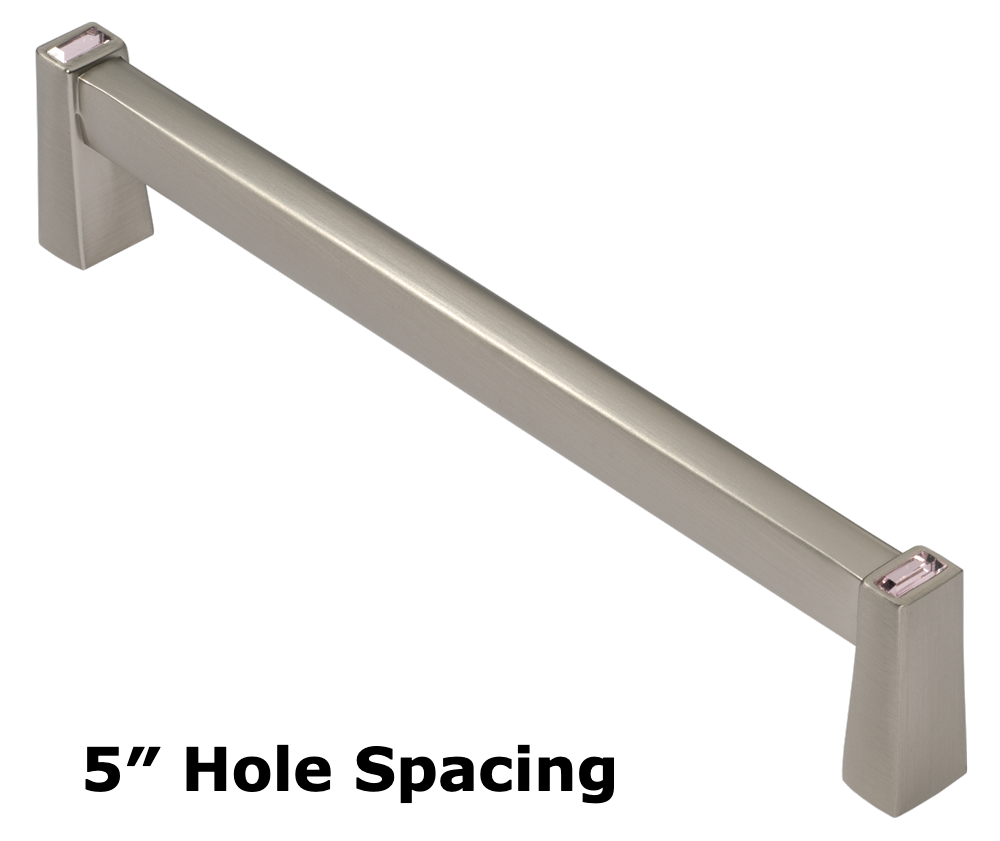 Drawer handle pull in satin nickel finish with pink crystals and slim long design