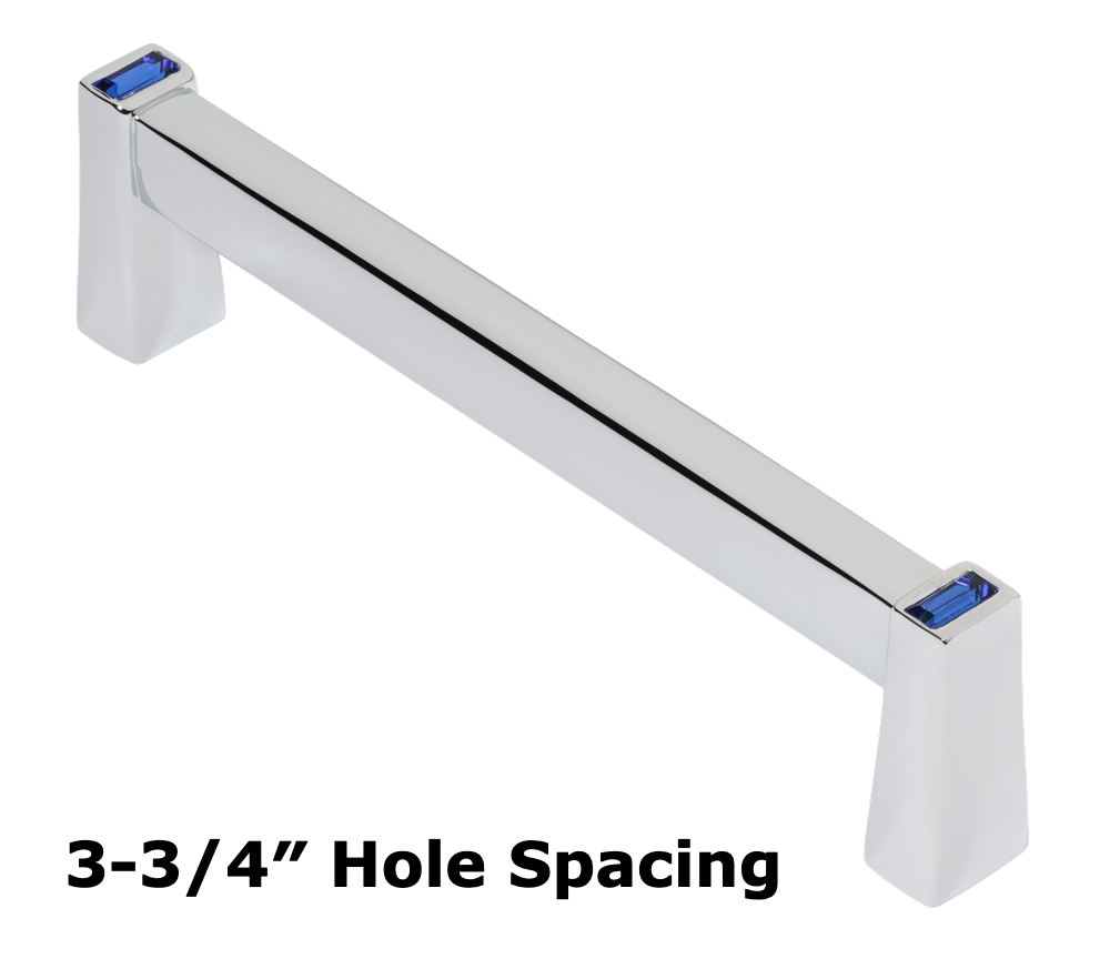 Long Island 96mm Cabinet Pull, Polished Chrome, Dark Blue