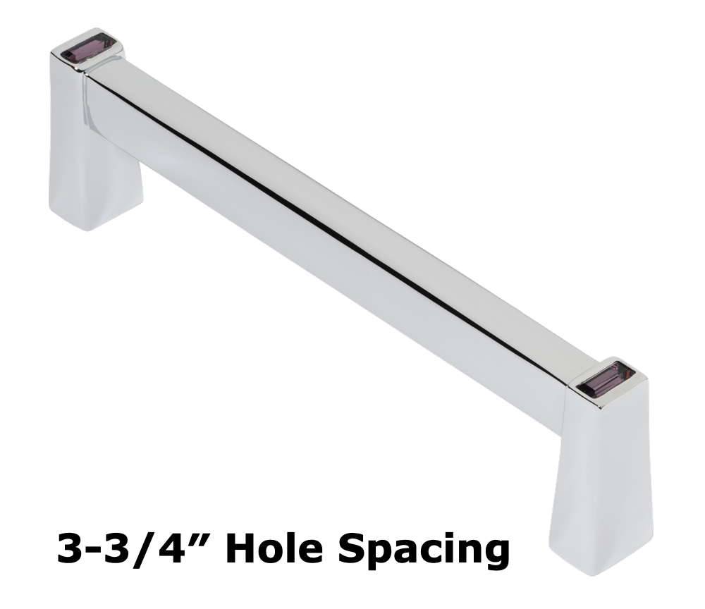 Long Island 96mm Cabinet Pull, Polished Chrome, Purple