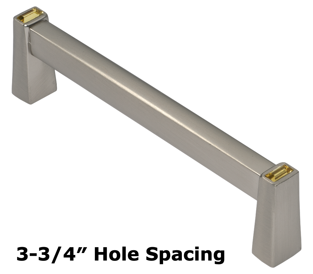 Long Island 96mm Cabinet Pull, Satin Nickel, Antique Yellow