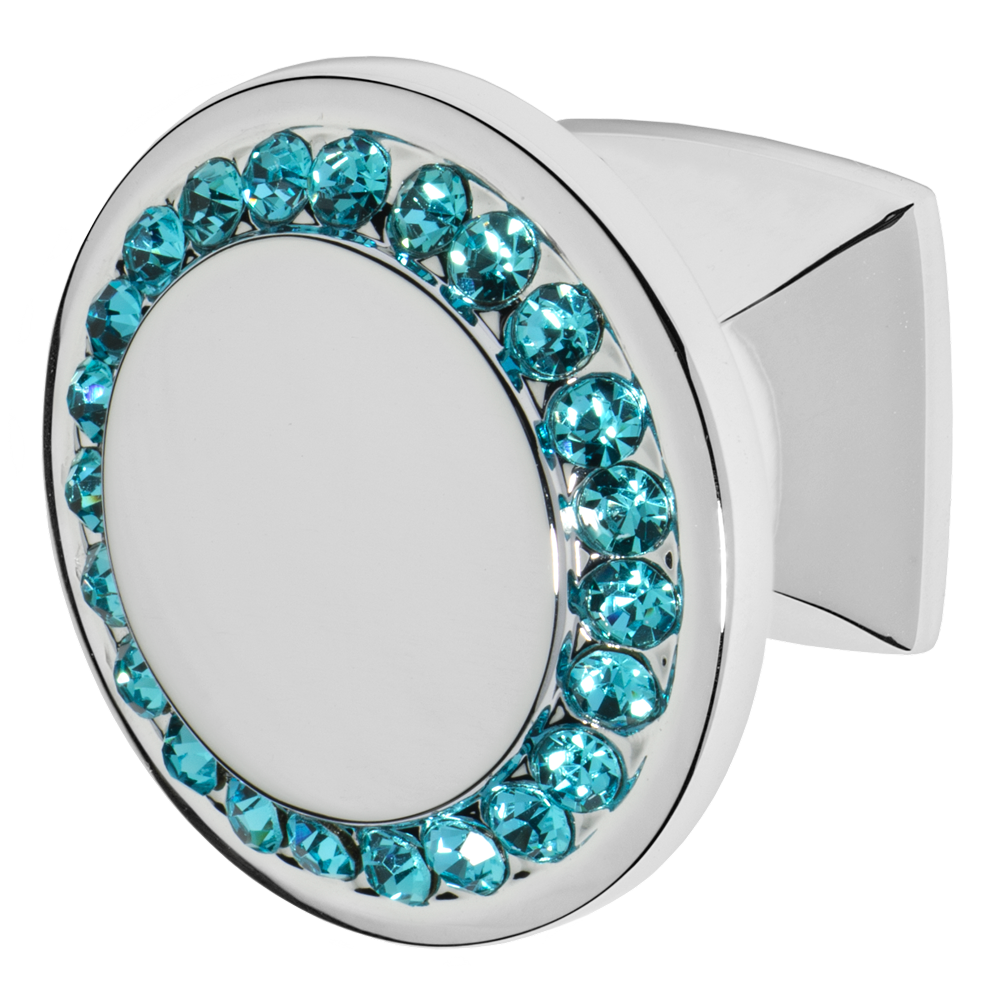 Circle drawer knob in polished chrome finish with aqua blue crystals over the edges