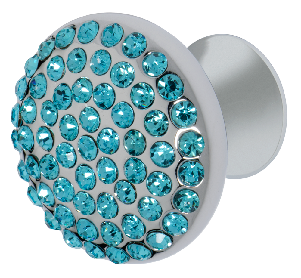 Vivacité Cabinet Knob, Polished Chrome, Aqua Blue