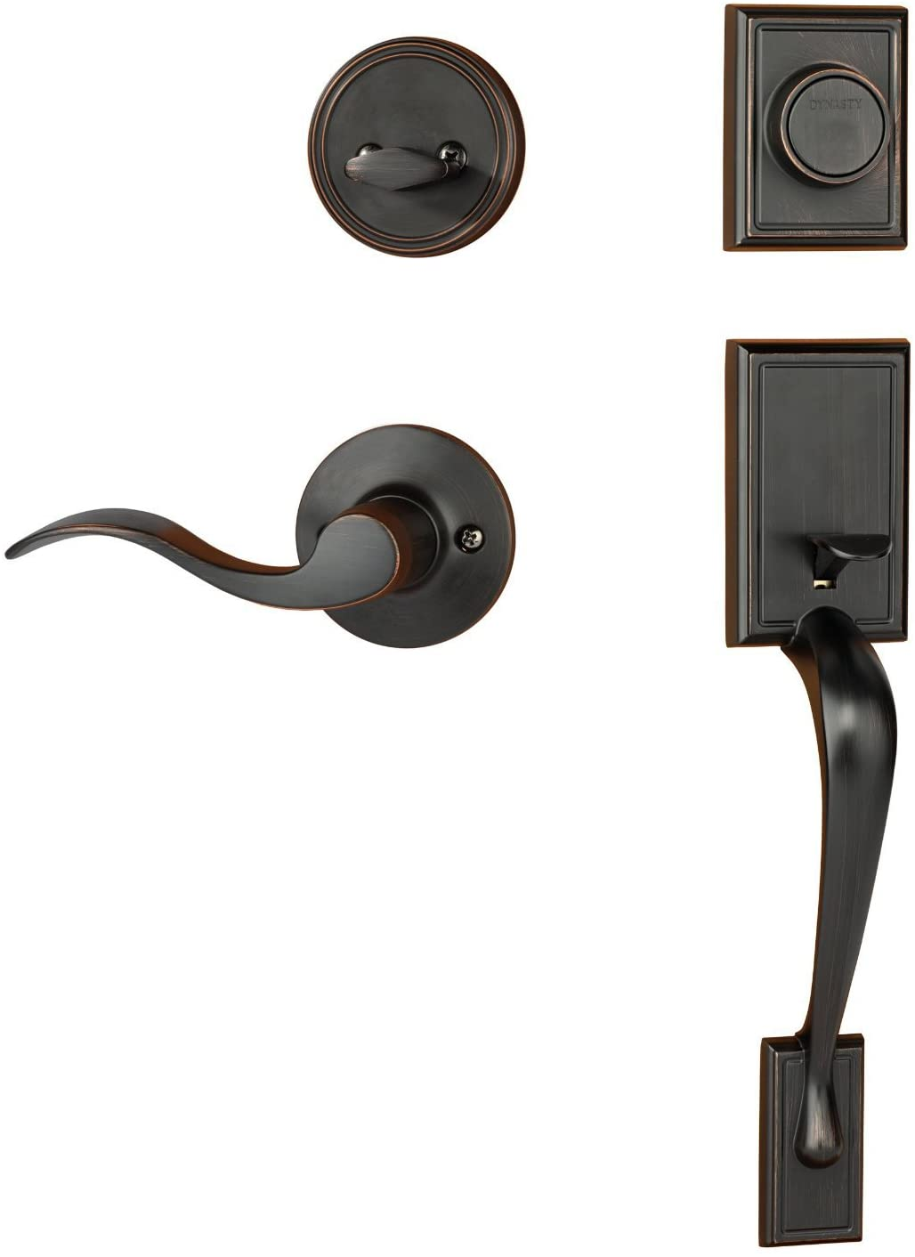 Dynasty Hardware Ridgecrest RID-HER-405-12PR Right Hand Dummy Front Door Handleset with Heritage Lever, Aged Oil Rubbed Bronze