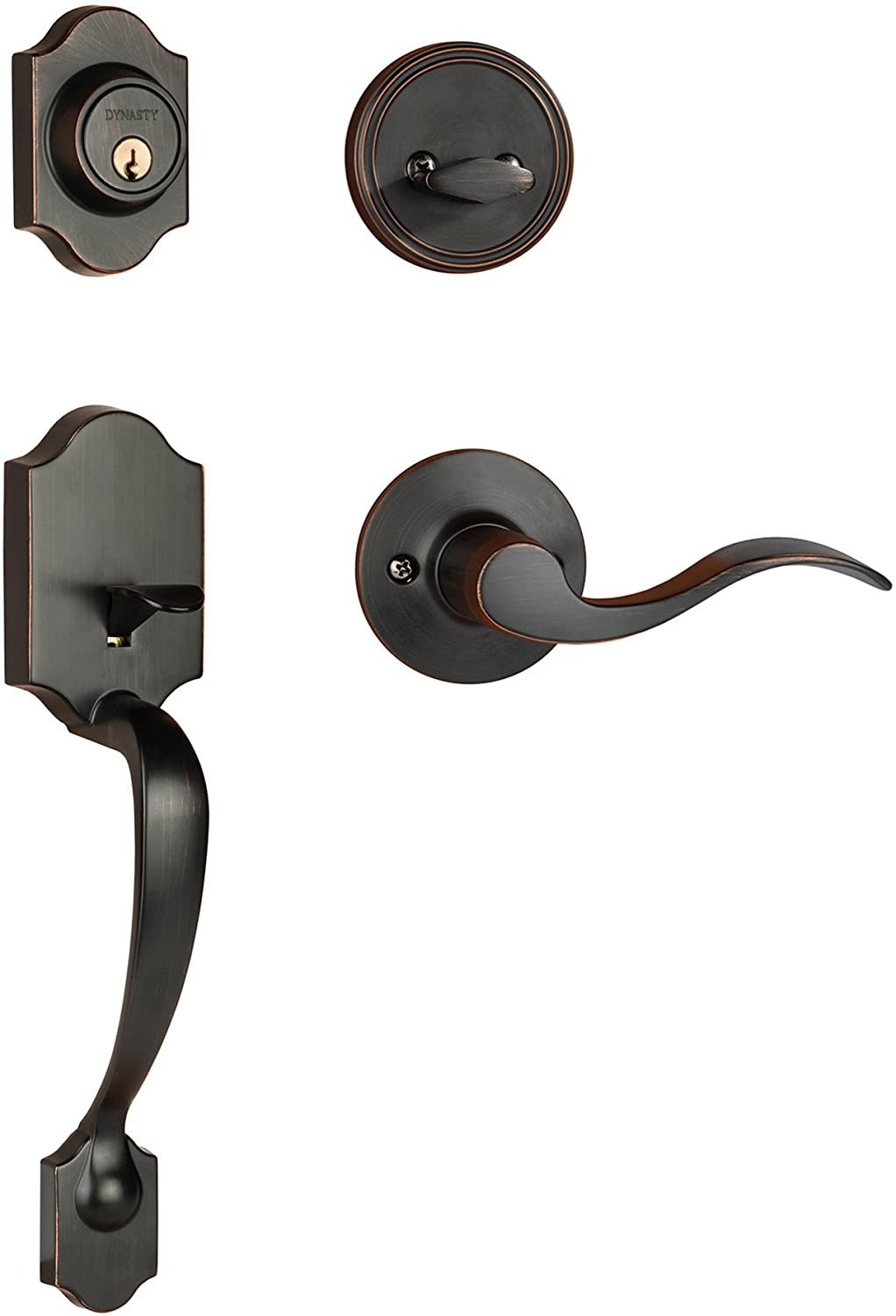Dynasty Hardware Denver DEN-HER-100-12PL Left Hand Front Door Handleset with Heritage Lever, Aged Oil Rubbed Bronze