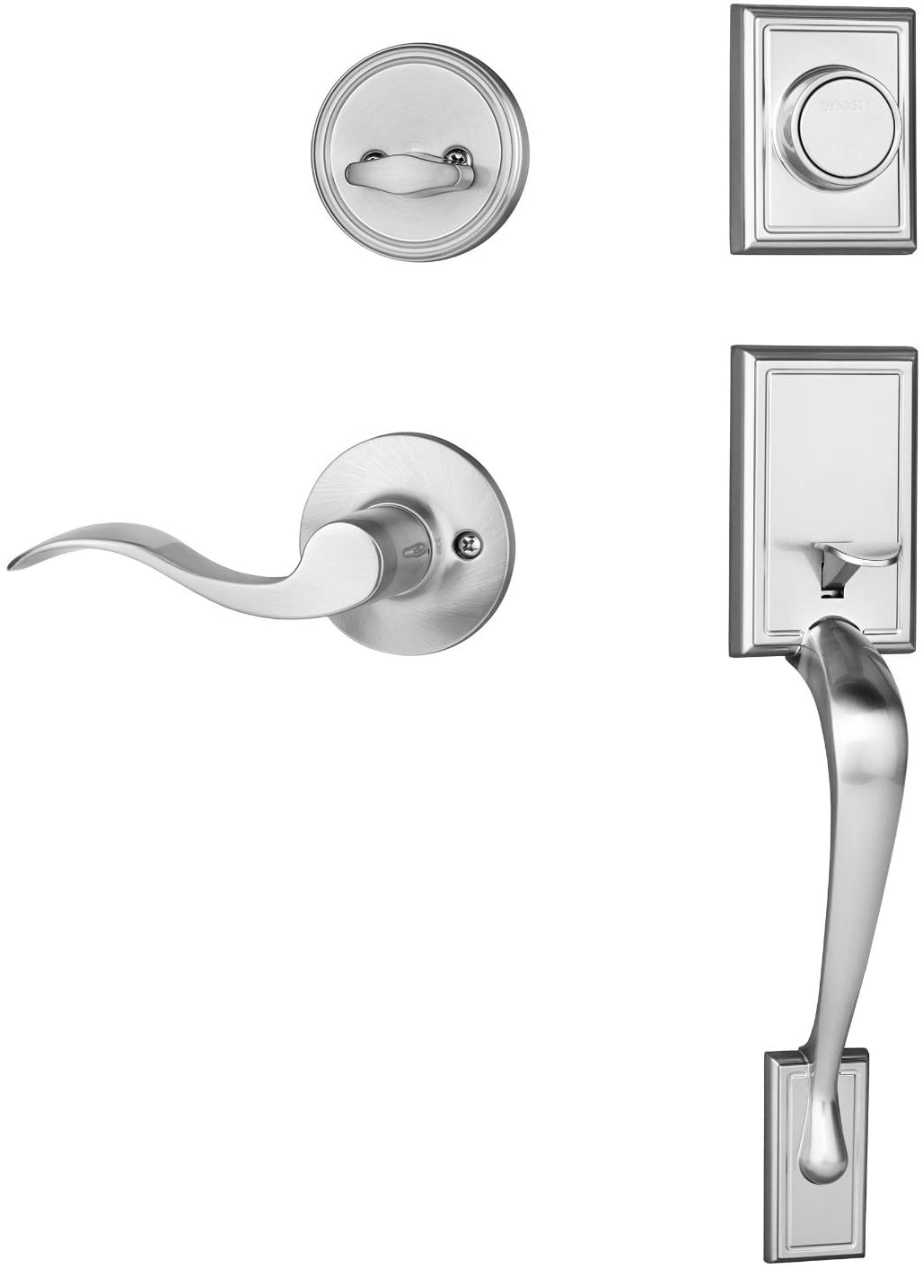 Dynasty Hardware Ridgecrest RID-HER-405-15PR Right Hand Dummy Front Door Handleset with Heritage Lever, Satin Nickel