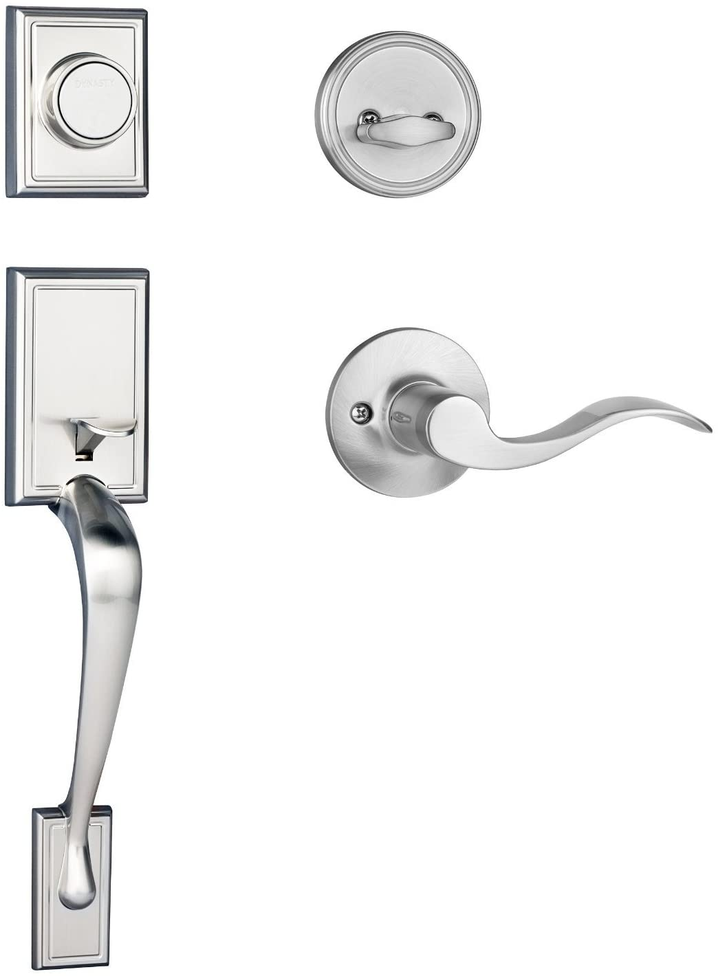 Dynasty Hardware RID-HER-405-15L Ridgecrest Front Door Dummy Handleset, Satin Nickel, with Heritage Lever, Left Hand