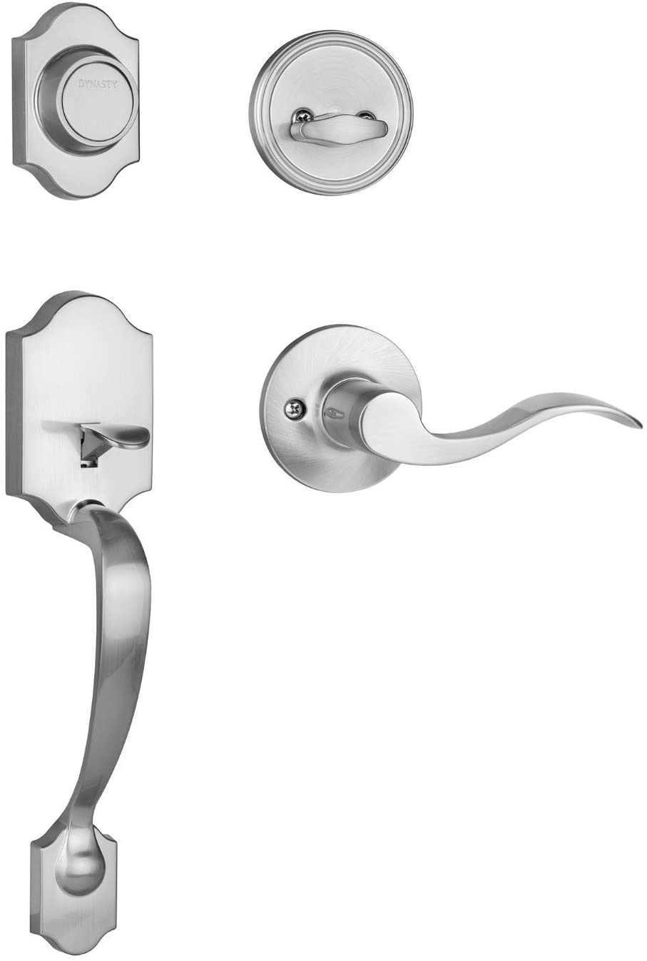 Dynasty Hardware Denver DEN-HER-405-15PL Left Hand Dummy Front Door Handleset with Heritage Lever, Satin Nickel