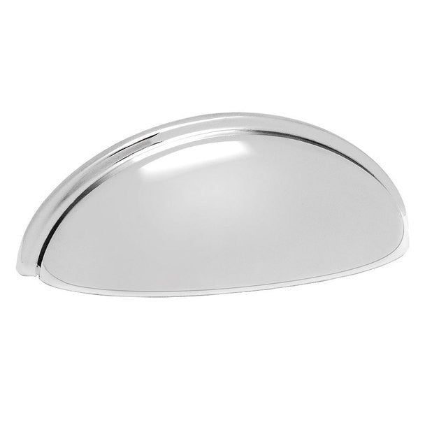 Polished chrome cabinet cup pull with three inch hole spacing