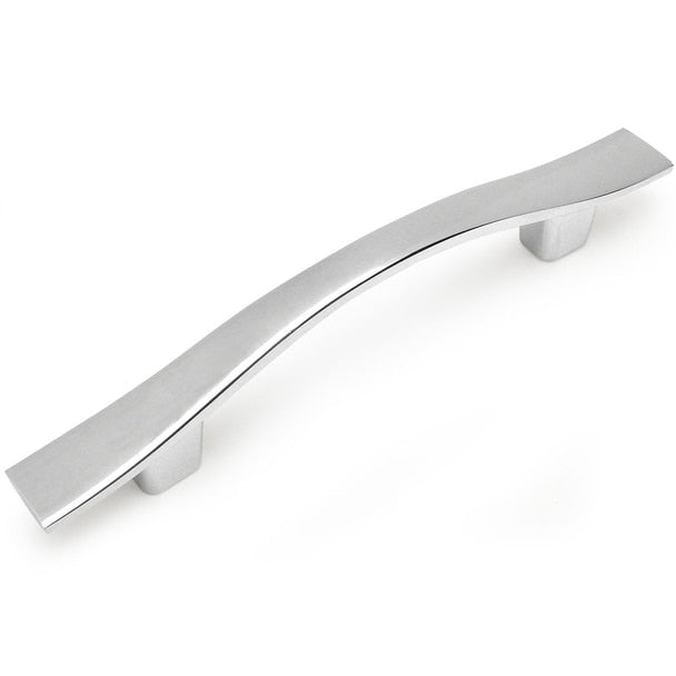 Wavy cabinet pull in polished chrome finish with three inch hole spacing