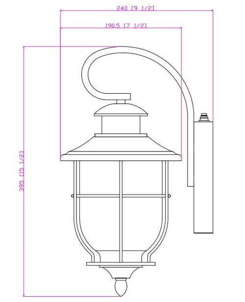 Black Outdoor Patio / Porch Exterior Light Fixture w/Photo Cell Operation : 21-2199