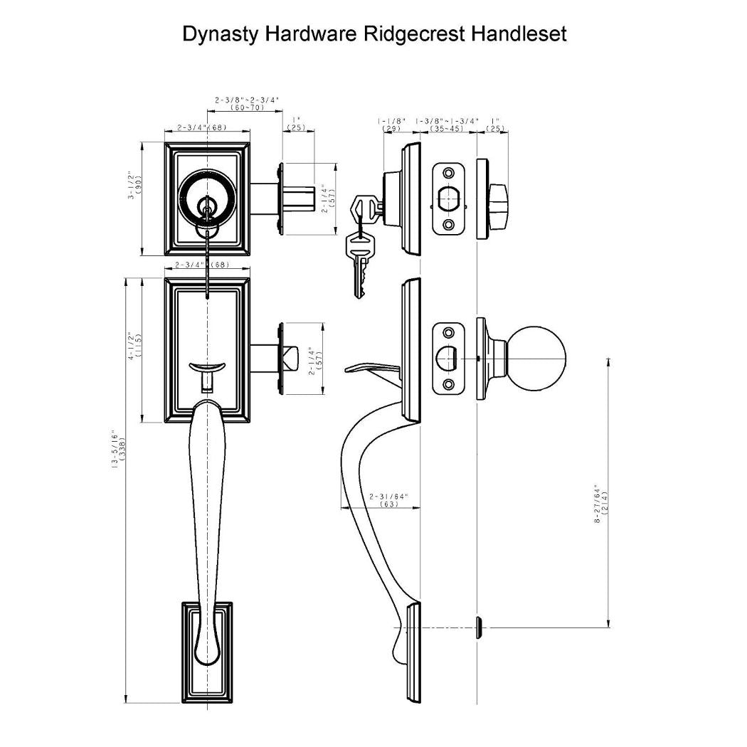 Dynasty Hardware Ridgecrest  RID-HER-100-US15-RH Right Hand Front Door Handleset with Heritage Lever, Satin Nickel