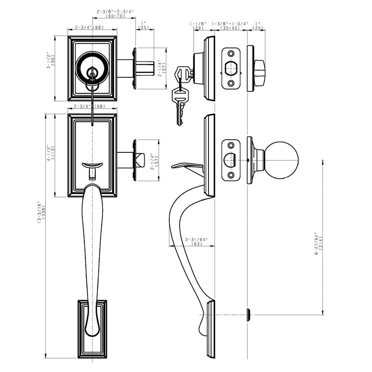 Dynasty Hardware COL-MON-100-12P-LH Colorado Front Door Handleset with Monterey Lever Aged Oil Rubbed Bronze Left Hand