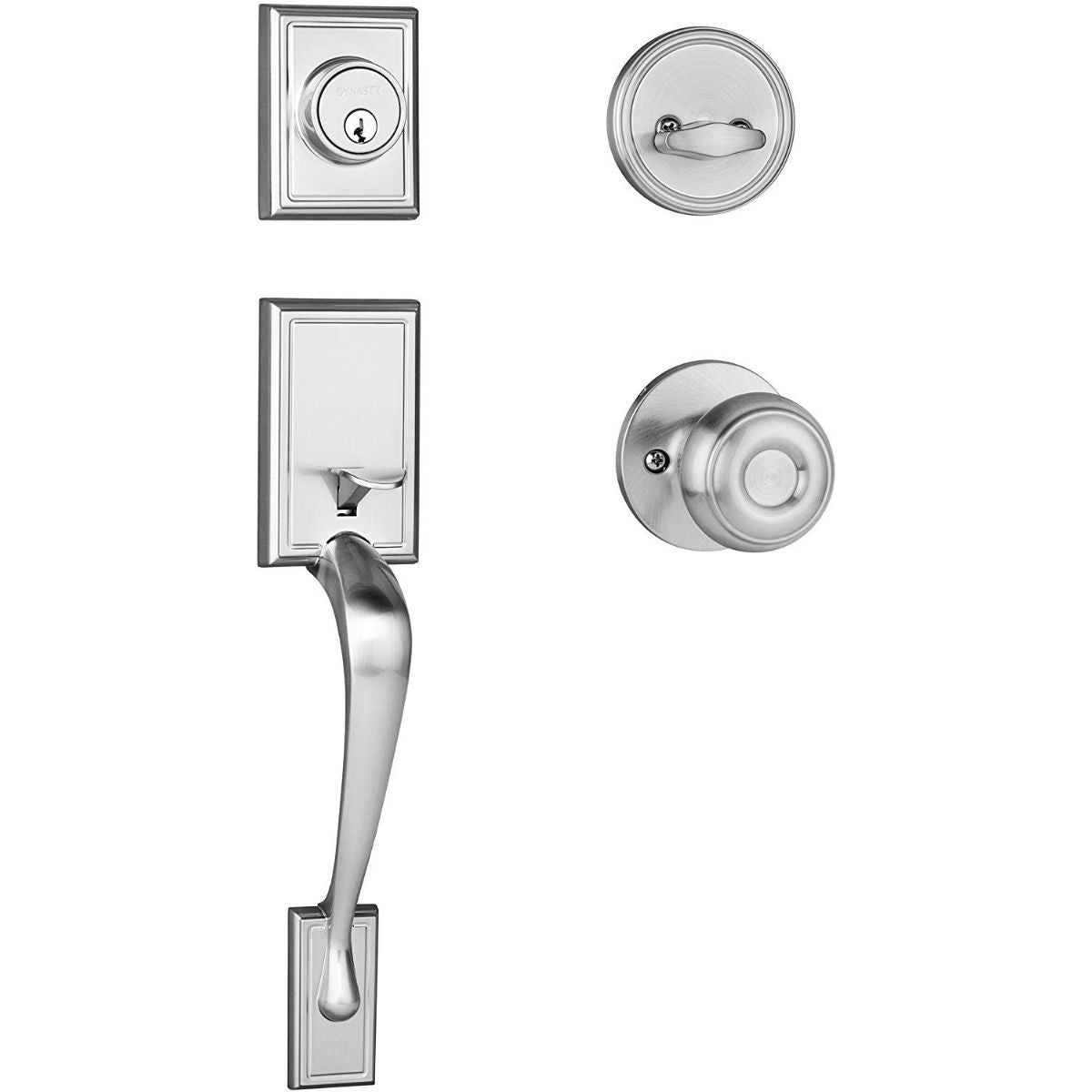 Dynasty Hardware Ridgecrest RID-SIE-100-15 Front Door Handleset with Sierra Knob, Satin Nickel