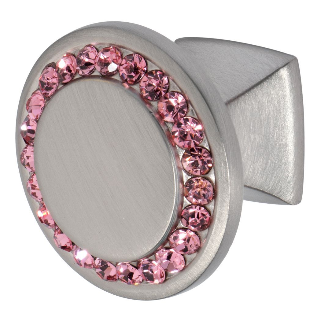 Furniture knob in satin nickel finish with pink crystals