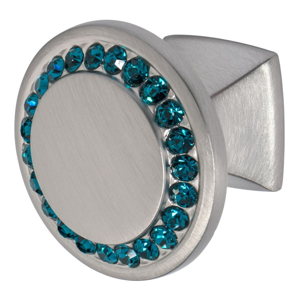 Drawer knob in satin nickel finish with ocean blue crystals and one and a quarter inch hole spacing