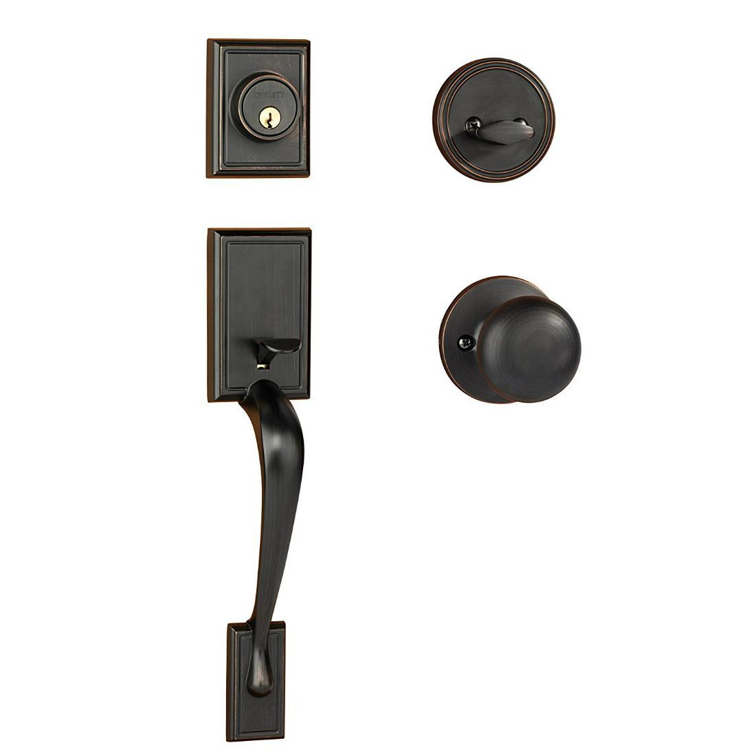 Dynasty Hardware Ridgecrest RID-TAH-100-12P Front Door Handleset with Tahoe Knob, Aged Oil Rubbed Bronze