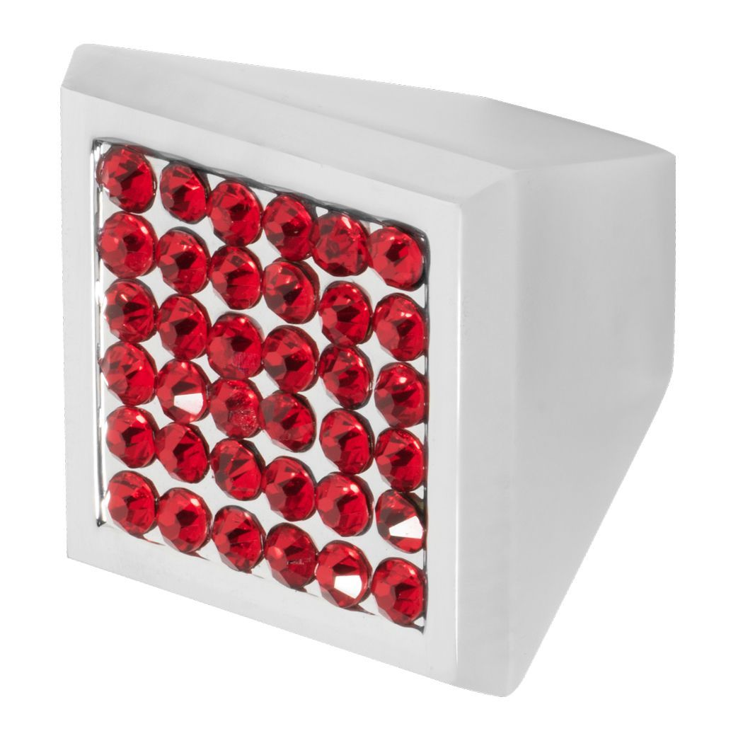 Modern classic cabinet knob in prism shape and polished chrome finish with small red crystals