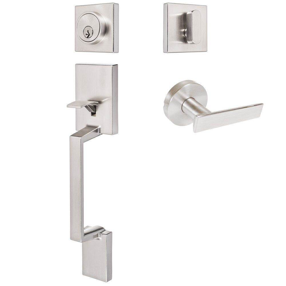 Keeneland Design Satin Nickel Contemporary Handleset with Laurel Lever