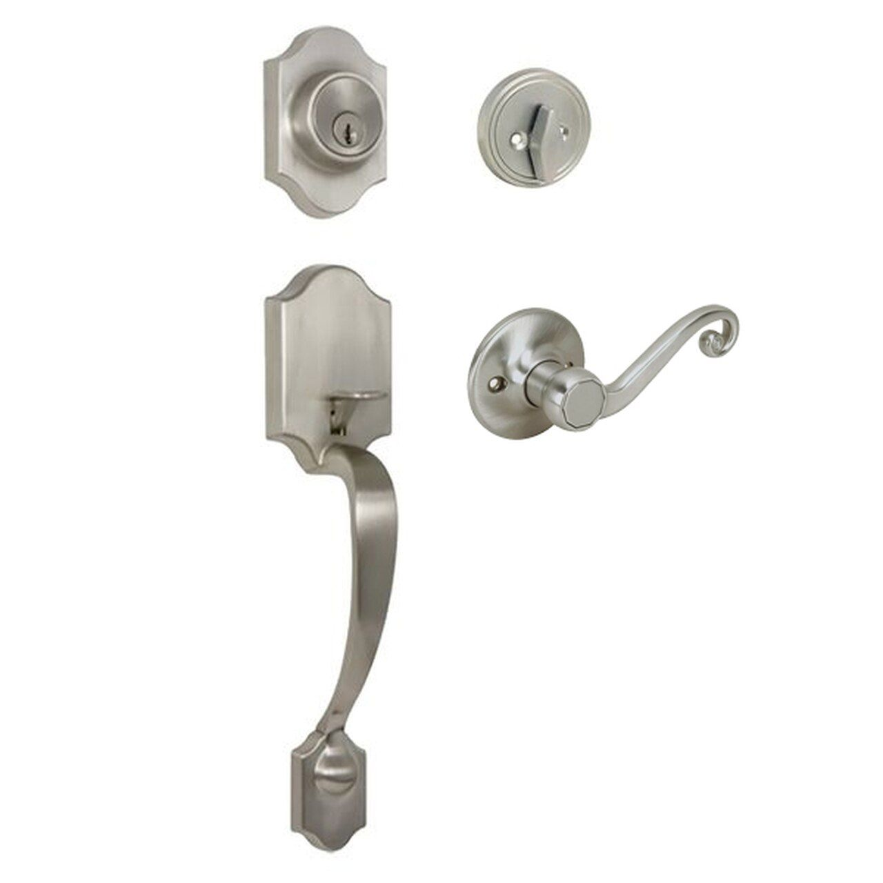 Valhala Satin Nickel Decorative Handleset with Livingston Lever