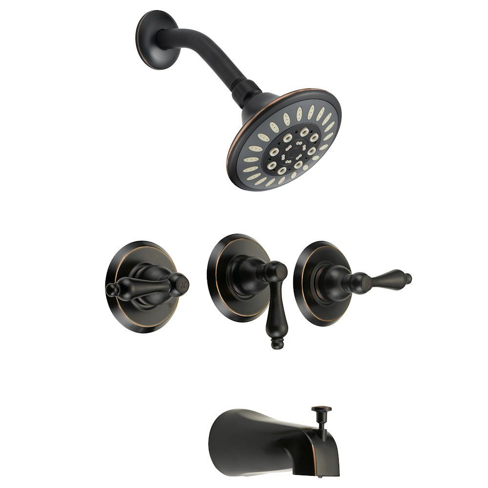 Designers Impressions 651701 Oil Rubbed Bronze Tub / Shower Combo Faucet with Multi-Setting Shower Head