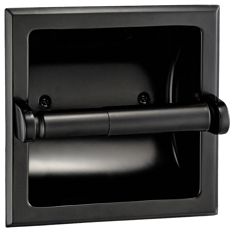 Designers Impressions Black Recessed Toilet / Tissue Paper Holder