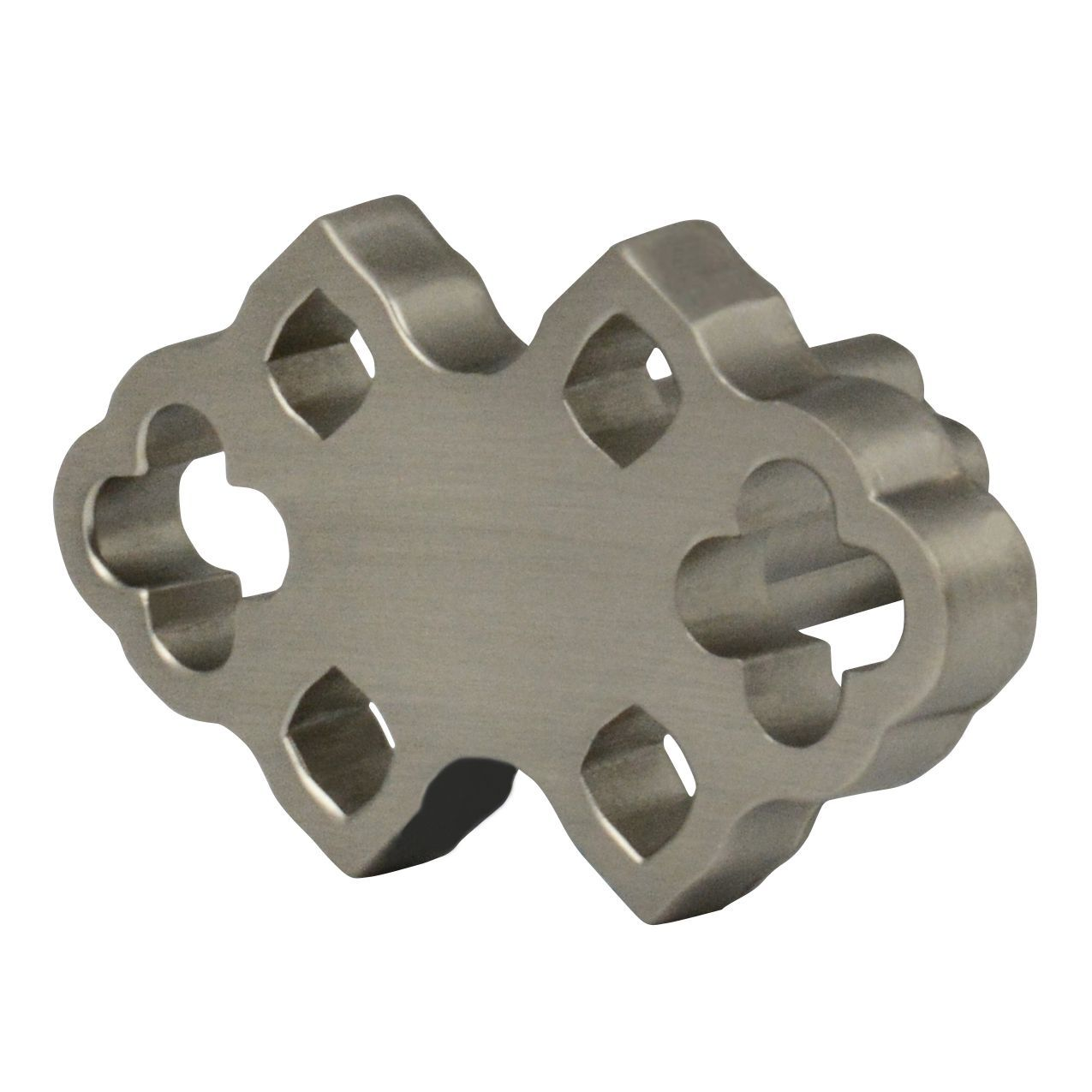 Bohemian satin nickel drawer knob with one and thirteen sixteenths inch length